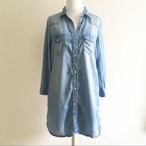 H&M Chambray Shirt Dress Blue Pockets Size 6